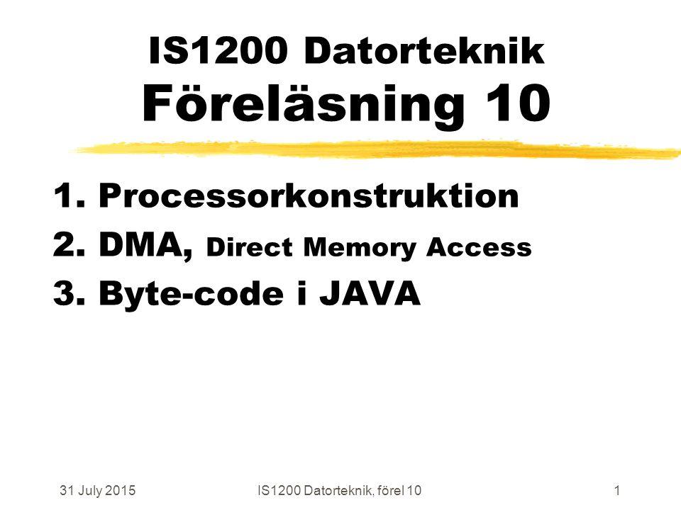 31 July 2015IS1200 Datorteknik, förel 1072 Block Data Transfer I/O to Memory # Initiera inför DMA-styrd BDT # DmaSrc, -Dst, -Nr och -Ctl är memory-mapped register i DMA storeiDmaSrc, SrcAddrVal storeiDmaDst, DstAddrVal storeiDmaNr, NrOfTransfers storeiDmaCtl, DirandSize