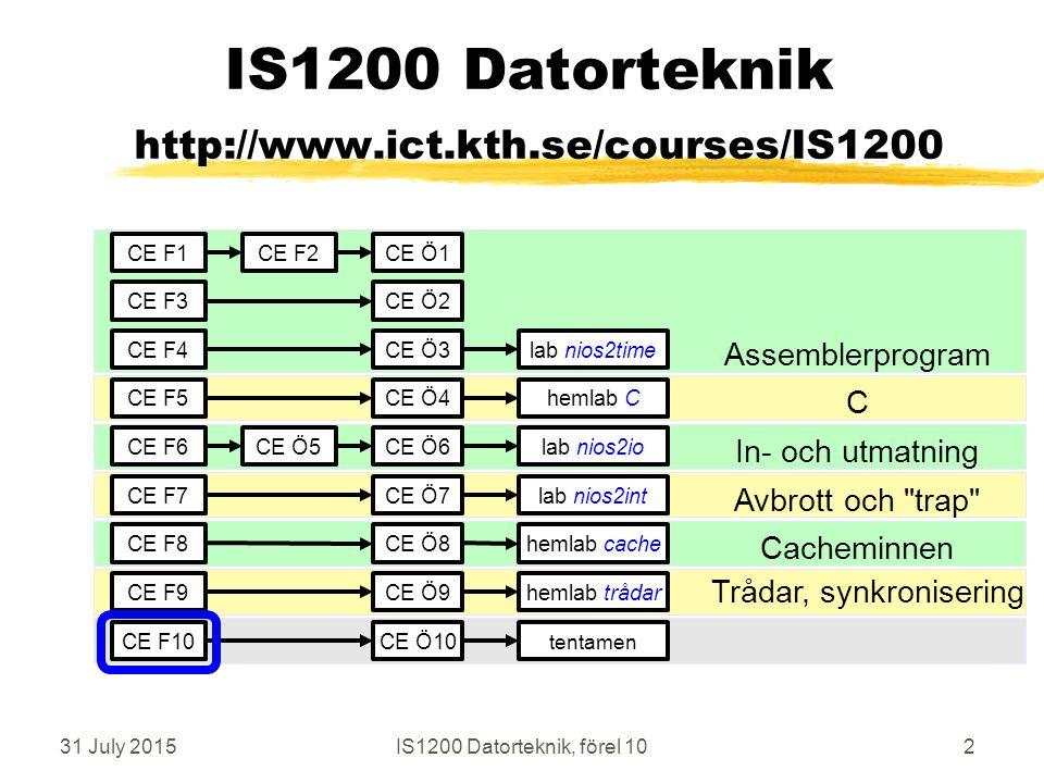 31 July 2015IS1200 Datorteknik, förel 1043 memcpy i C-kod (~ Bilting sid 250) void* memcpy (void* dst, const void* src, size_t nr) { char * dp = (char*) dst; /* type cast from void */ char * sp = (char*) src; /* type cast from void */ register int i; for (i=0; i<nr, i=i+1) { *dp = *sp; /* copy */ dp=dp+1; sp += 1; /* update pointers */ } }