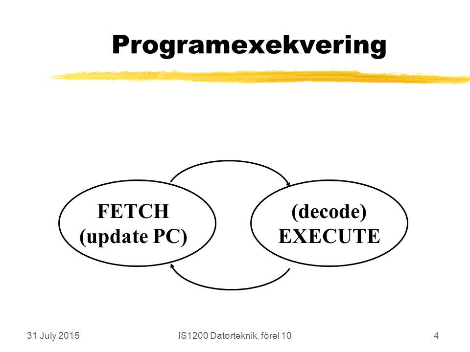 31 July 2015IS1200 Datorteknik, förel 1095 Java-program steg vid program-arbete  Skriv källkod i JAVA, plattforms-oberoende och flyttbart  kompilera till byte-code, plattforms- oberoende och flyttbart  Interpretera byte-code med JVM  JVM = Java Virtual Machine, plattforms-beroende