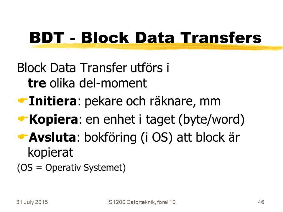 31 July 2015IS1200 Datorteknik, förel 1046 BDT - Block Data Transfers Block Data Transfer utförs i tre olika del-moment  Initiera: pekare och räknare, mm  Kopiera: en enhet i taget (byte/word)  Avsluta: bokföring (i OS) att block är kopierat (OS = Operativ Systemet)