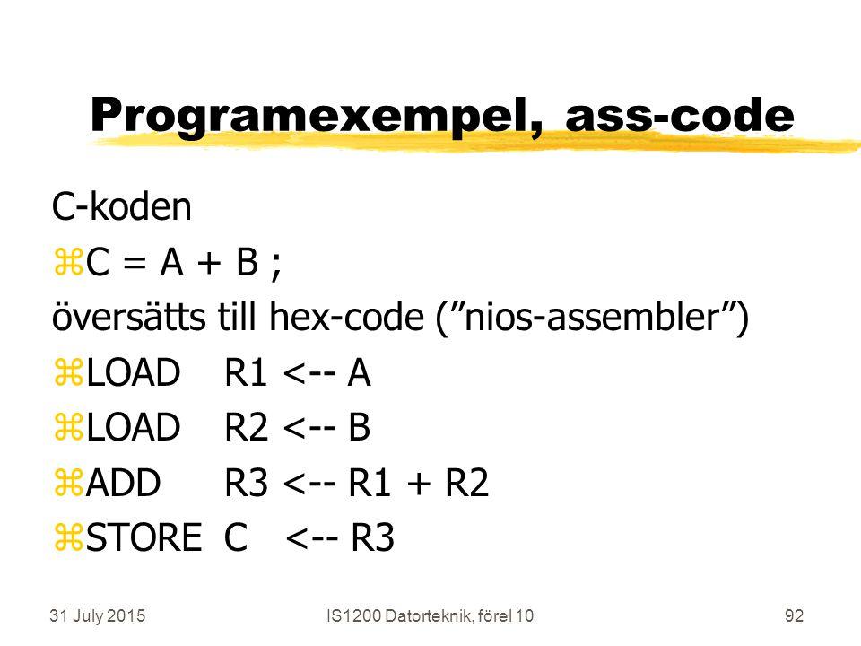 31 July 2015IS1200 Datorteknik, förel 1092 Programexempel, ass-code C-koden zC = A + B ; översätts till hex-code ( nios-assembler ) zLOADR1 <-- A zLOADR2 <-- B zADDR3 <-- R1 + R2 zSTOREC <-- R3