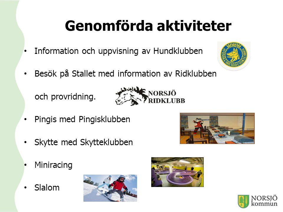 Genomförda aktiviteter Information och uppvisning av Hundklubben Besök på Stallet med information av Ridklubben och provridning. Pingis med Pingisklub
