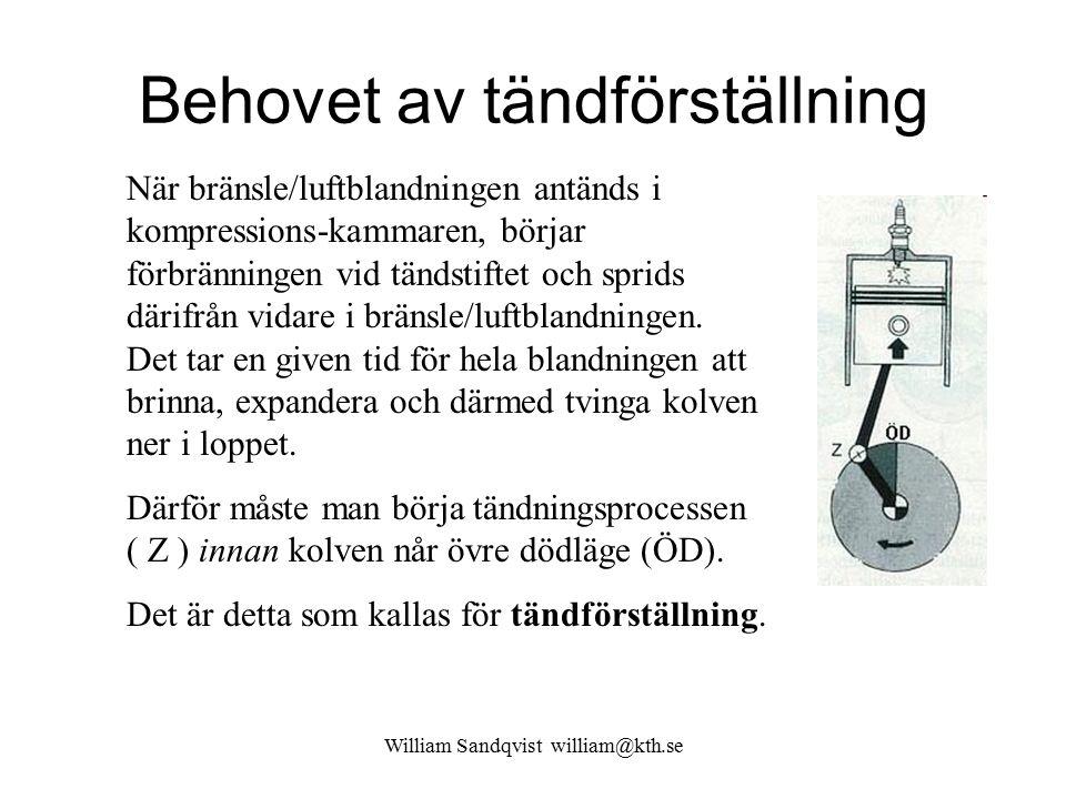 William Sandqvist william@kth.se Behovet av tändförställning När bränsle/luftblandningen antänds i kompressions-kammaren, börjar förbränningen vid tän
