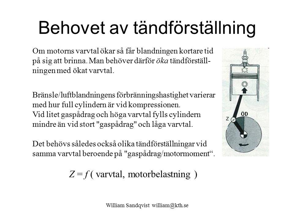 William Sandqvist william@kth.se Behovet av tändförställning Om motorns varvtal ökar så får blandningen kortare tid på sig att brinna. Man behöver där