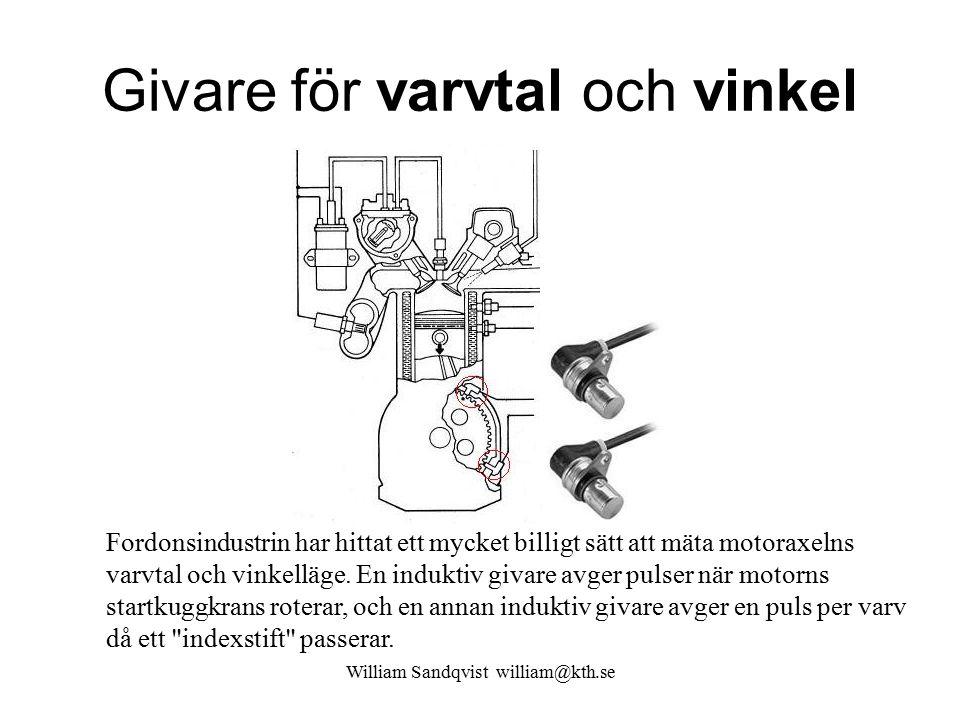 William Sandqvist william@kth.se Givare för varvtal och vinkel Fordonsindustrin har hittat ett mycket billigt sätt att mäta motoraxelns varvtal och vi