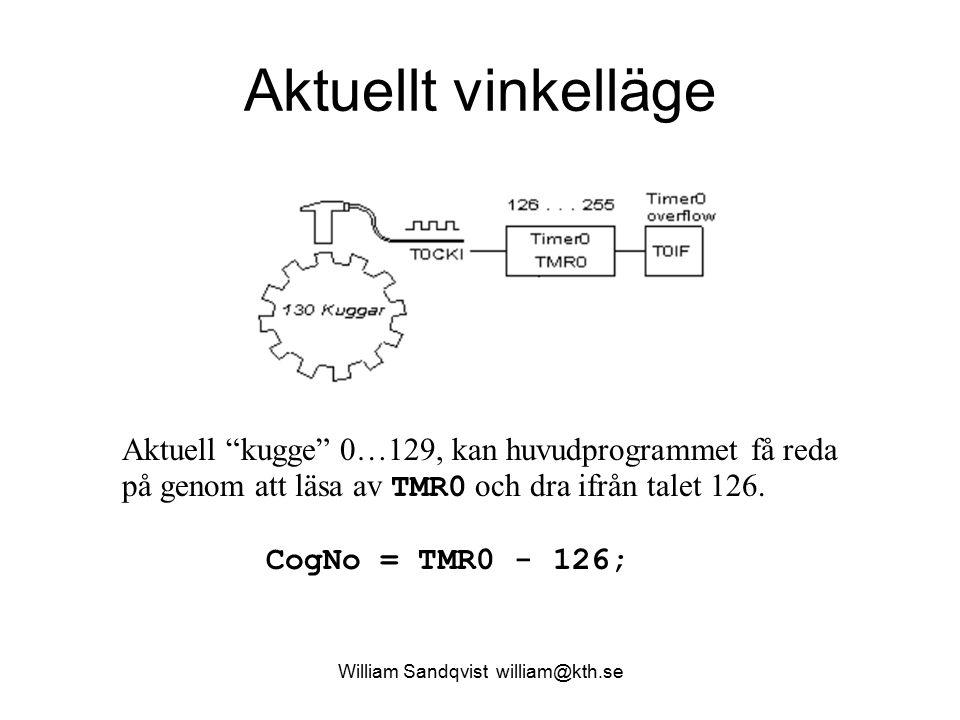 """William Sandqvist william@kth.se Aktuellt vinkelläge Aktuell """"kugge"""" 0…129, kan huvudprogrammet få reda på genom att läsa av TMR0 och dra ifrån talet"""
