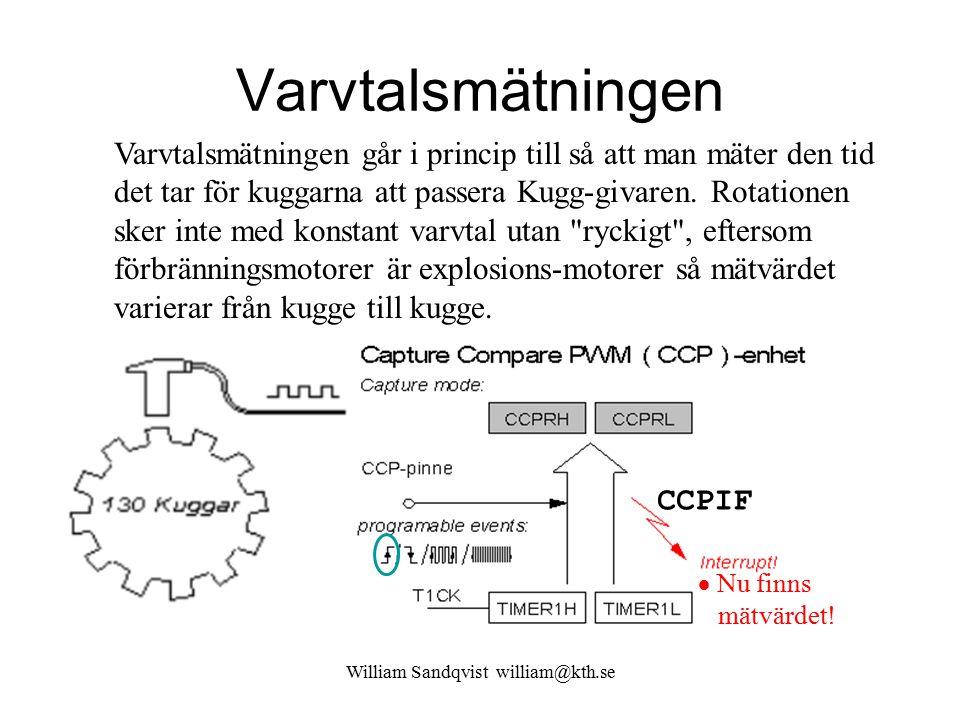 William Sandqvist william@kth.se Varvtalsmätningen Varvtalsmätningen går i princip till så att man mäter den tid det tar för kuggarna att passera Kugg