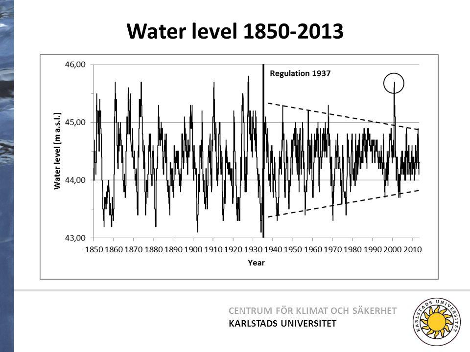 CENTRUM FÖR KLIMAT OCH SÄKERHET KARLSTADS UNIVERSITET Water level 1850-2013