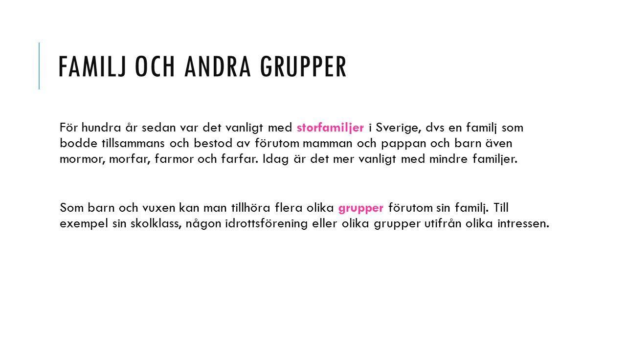 FAMILJ OCH ANDRA GRUPPER För hundra år sedan var det vanligt med storfamiljer i Sverige, dvs en familj som bodde tillsammans och bestod av förutom mamman och pappan och barn även mormor, morfar, farmor och farfar.