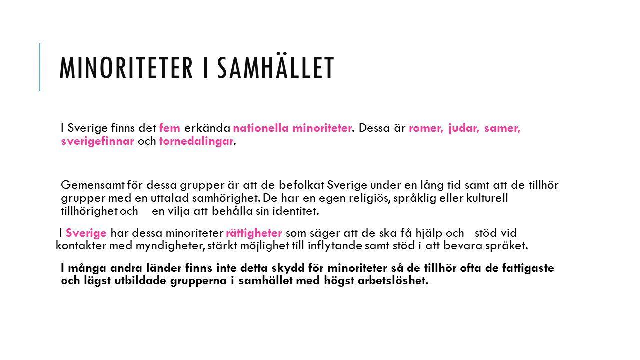 MINORITETER I SAMHÄLLET I Sverige finns det fem erkända nationella minoriteter.