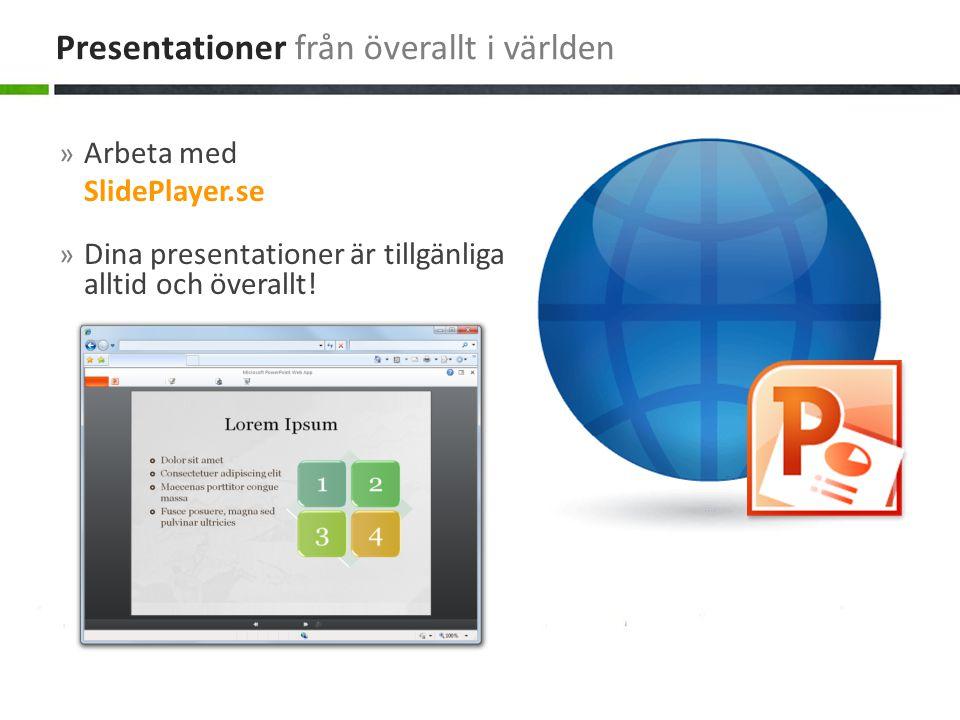 » Arbeta med SlidePlayer.se » Dina presentationer är tillgänliga alltid och överallt! Presentationer från överallt i världen