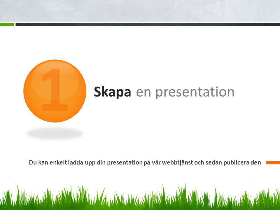 Skapa en presentation Du kan enkelt ladda upp din presentation på vår webbtjänst och sedan publicera den 1