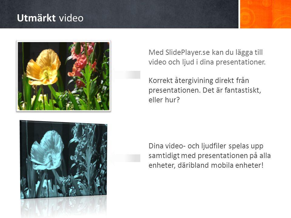 Med SlidePlayer.se kan du lägga till video och ljud i dina presentationer. Korrekt återgivining direkt från presentationen. Det är fantastiskt, eller