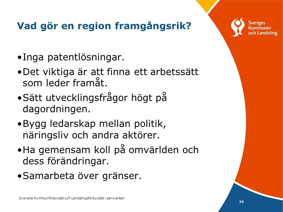 Svenska Kommunförbundet och Landstingsförbundet i samverkan 10 Vad gör en region framgångsrik? •Inga patentlösningar. •Det viktiga är att finna ett ar