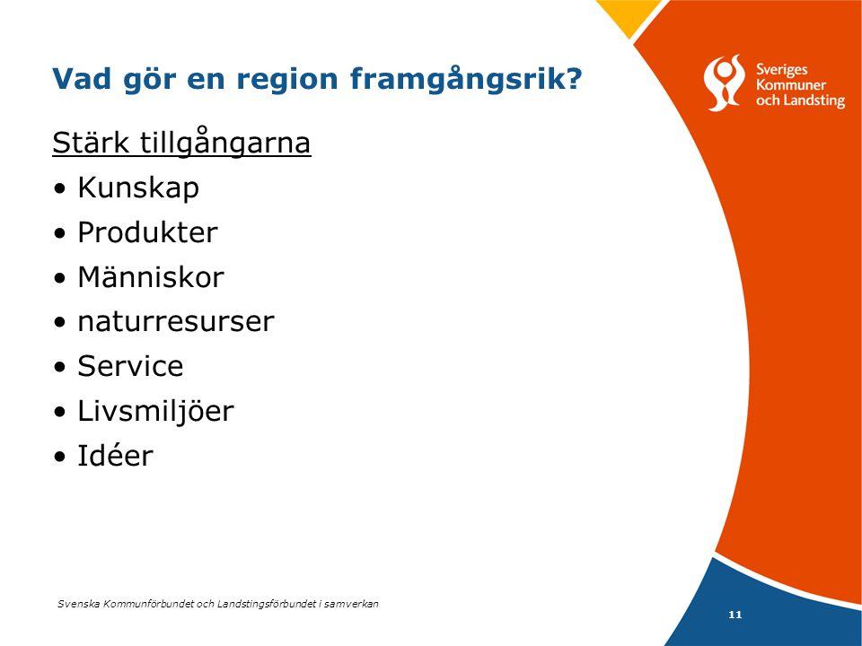 Svenska Kommunförbundet och Landstingsförbundet i samverkan 11 Vad gör en region framgångsrik? Stärk tillgångarna •Kunskap •Produkter •Människor •natu