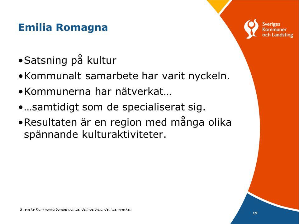 Svenska Kommunförbundet och Landstingsförbundet i samverkan 19 Emilia Romagna •Satsning på kultur •Kommunalt samarbete har varit nyckeln. •Kommunerna