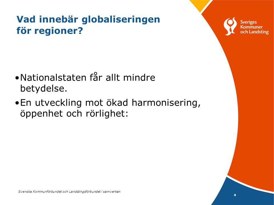 Svenska Kommunförbundet och Landstingsförbundet i samverkan 4 Vad innebär globaliseringen för regioner? •Nationalstaten får allt mindre betydelse. •En