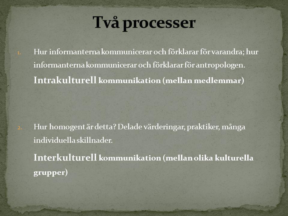 1. Hur informanterna kommunicerar och förklarar för varandra; hur informanterna kommunicerar och förklarar för antropologen. Intrakulturell kommunikat