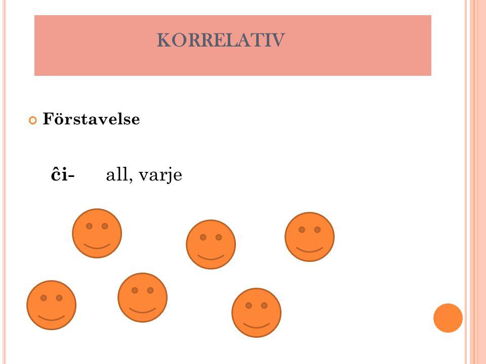 Förstavelse ĉi- all, varje KORRELATIV