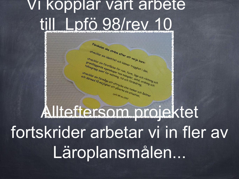 Vi kopplar vårt arbete till Lpfö 98/rev 10 Allteftersom projektet fortskrider arbetar vi in fler av Läroplansmålen...