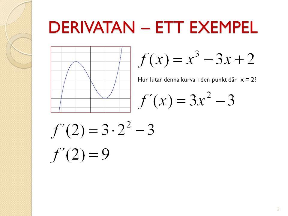 DERIVATAN – ETT EXEMPEL 4 Vilken ekvation har tangenten till denna kurva i den punkt där x = 2?