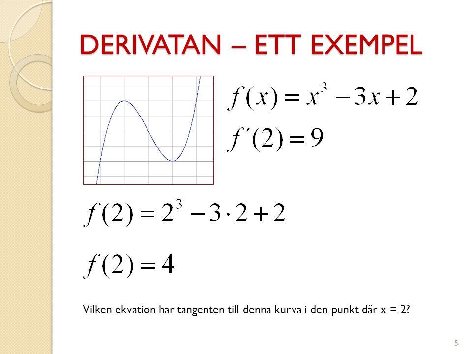 DERIVATAN – ETT EXEMPEL 5 Vilken ekvation har tangenten till denna kurva i den punkt där x = 2?