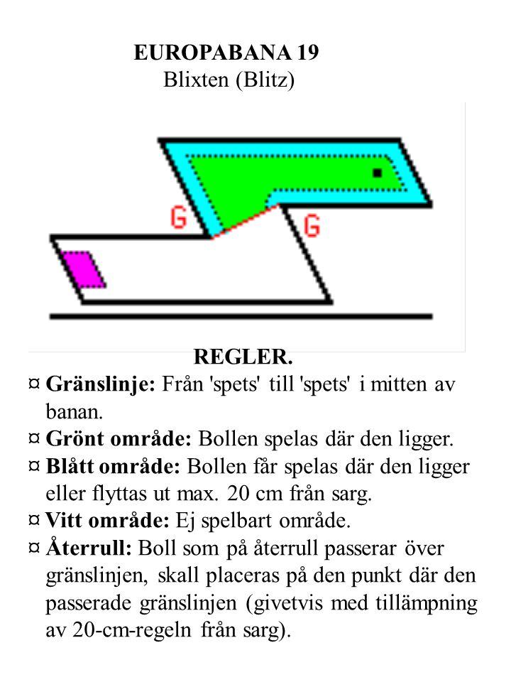EUROPABANA 19 Blixten (Blitz) REGLER. ¤ Gränslinje: Från spets till spets i mitten av banan.