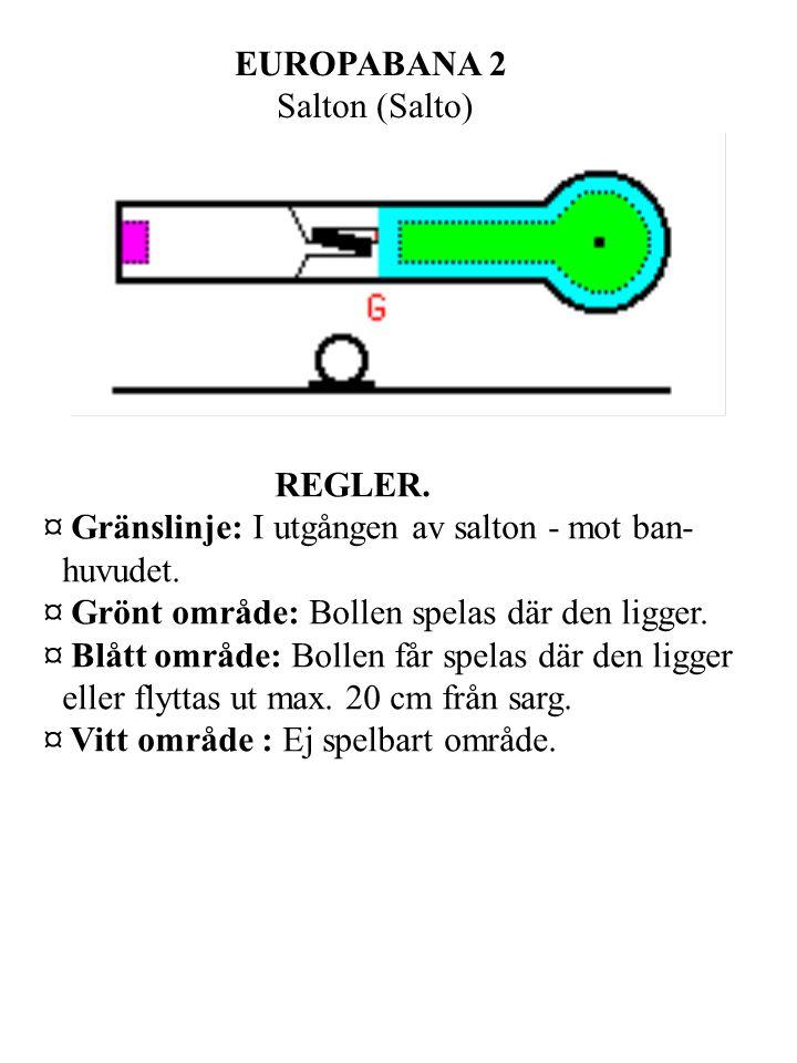 EUROPABANA 2 Salton (Salto) REGLER. ¤ Gränslinje: I utgången av salton - mot ban- huvudet.