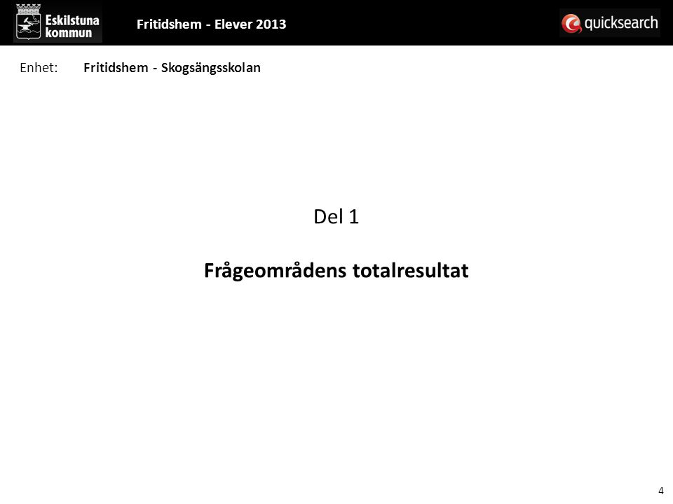 Del 1 Frågeområdens totalresultat Fritidshem - Elever 2013 4 Enhet:Fritidshem - Skogsängsskolan