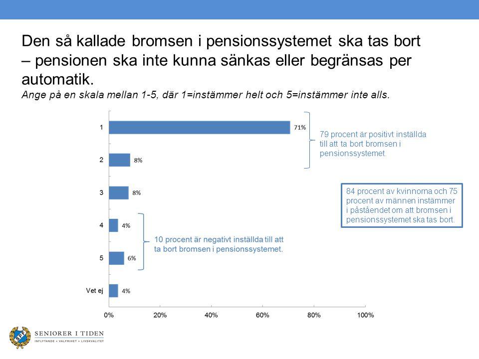 Den så kallade bromsen i pensionssystemet ska tas bort – pensionen ska inte kunna sänkas eller begränsas per automatik. Ange på en skala mellan 1-5, d