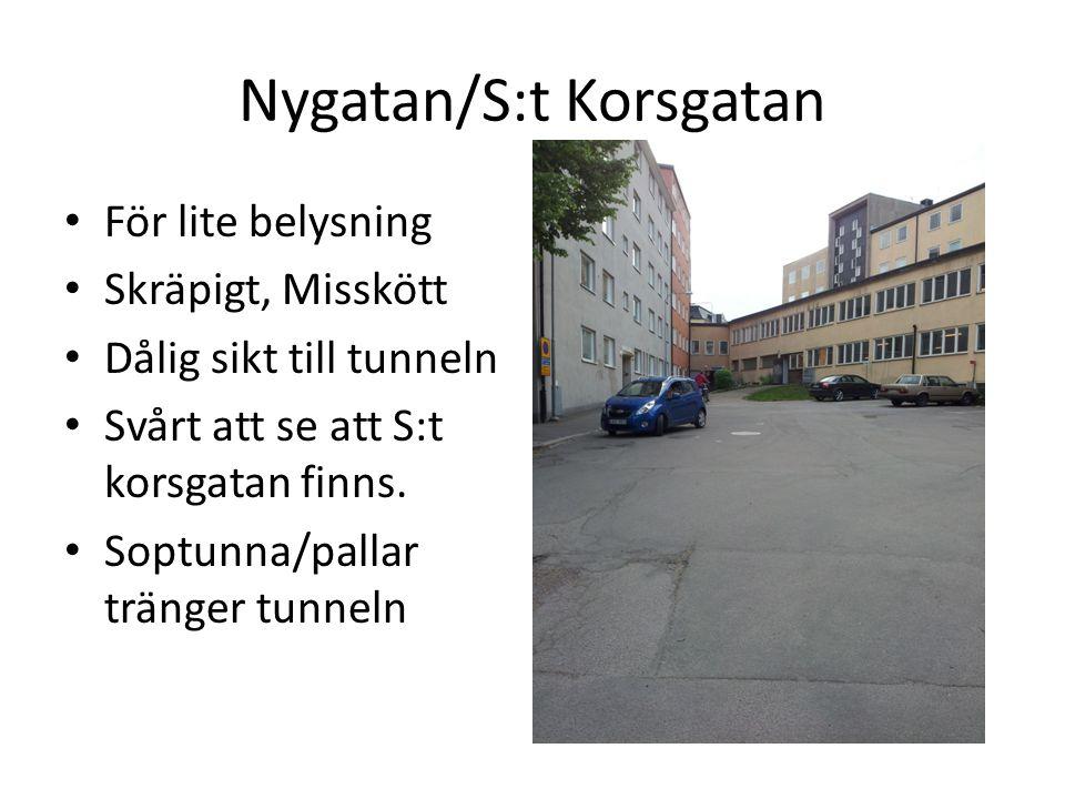 Nygatan/S:t Korsgatan • För lite belysning • Skräpigt, Misskött • Dålig sikt till tunneln • Svårt att se att S:t korsgatan finns. • Soptunna/pallar tr