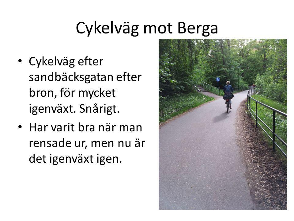 Cykelväg mot Berga • Cykelväg efter sandbäcksgatan efter bron, för mycket igenväxt. Snårigt. • Har varit bra när man rensade ur, men nu är det igenväx