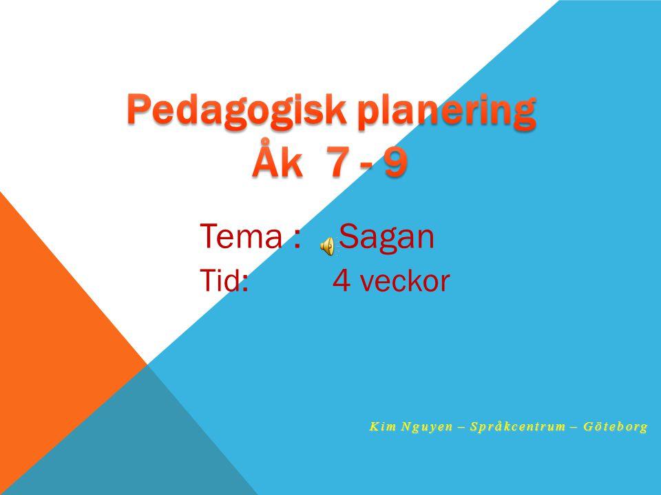 Tema : Sagan Tid: 4 veckor Kim Nguyen – Språkcentrum – Göteborg