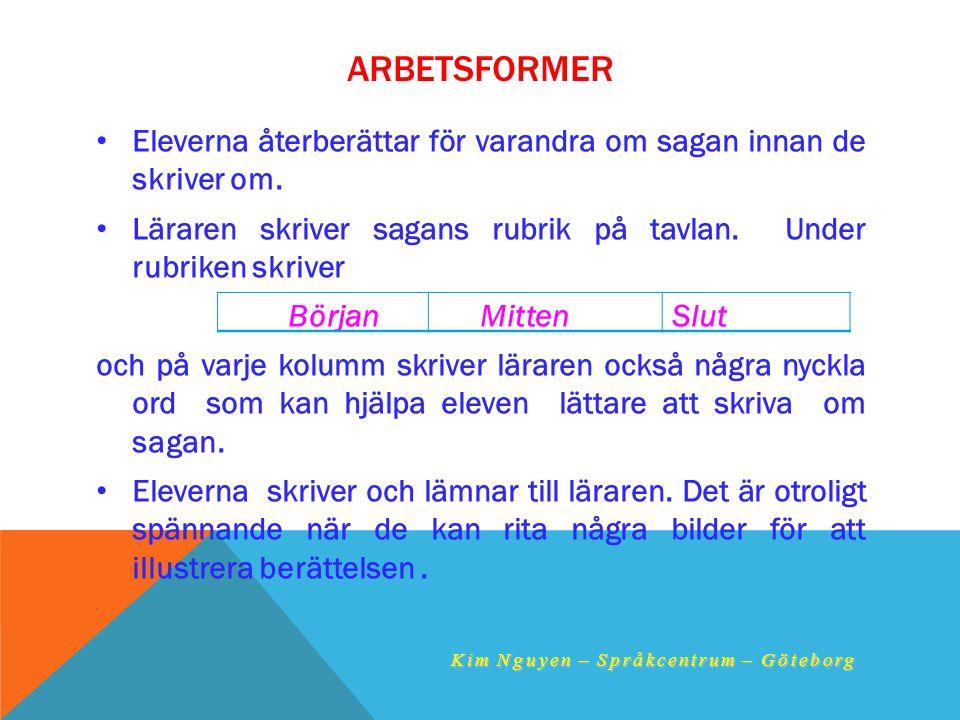 ARBETSFORMER •E•Eleverna återberättar för varandra om sagan innan de skriver om. •L•Läraren skriver sagans rubrik på tavlan. Under rubriken skriver Bö