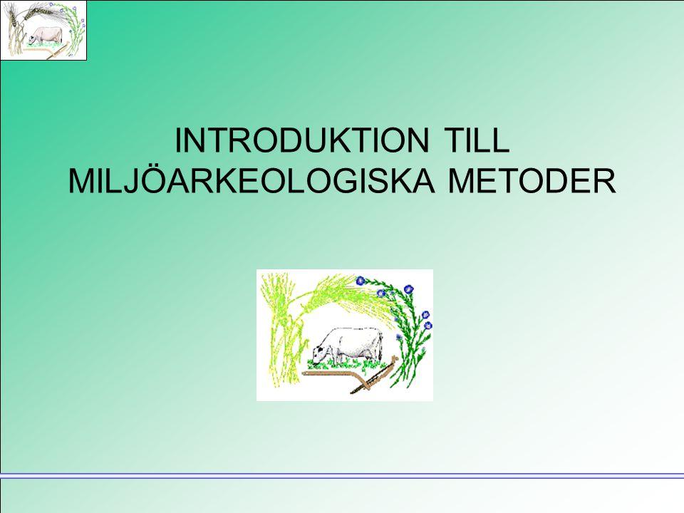Miljöarkeologi •Studera landskap och landskapsförändringar •Registrera och analysera förändringar orsakade av olika typer av mänsklig (och icke-mänsklig) aktivitet •Metoder: främst olika paleoekologiska, markkemiska och markfysikaliska metoder
