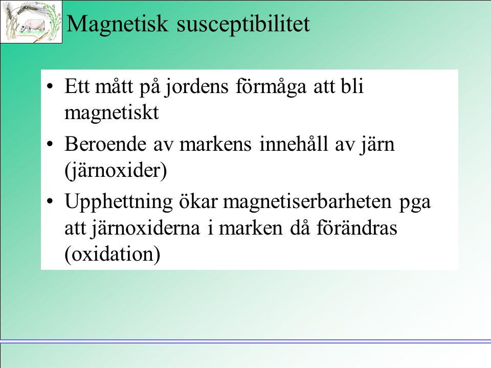 Magnetisk susceptibilitet •Ett mått på jordens förmåga att bli magnetiskt •Beroende av markens innehåll av järn (järnoxider) •Upphettning ökar magneti