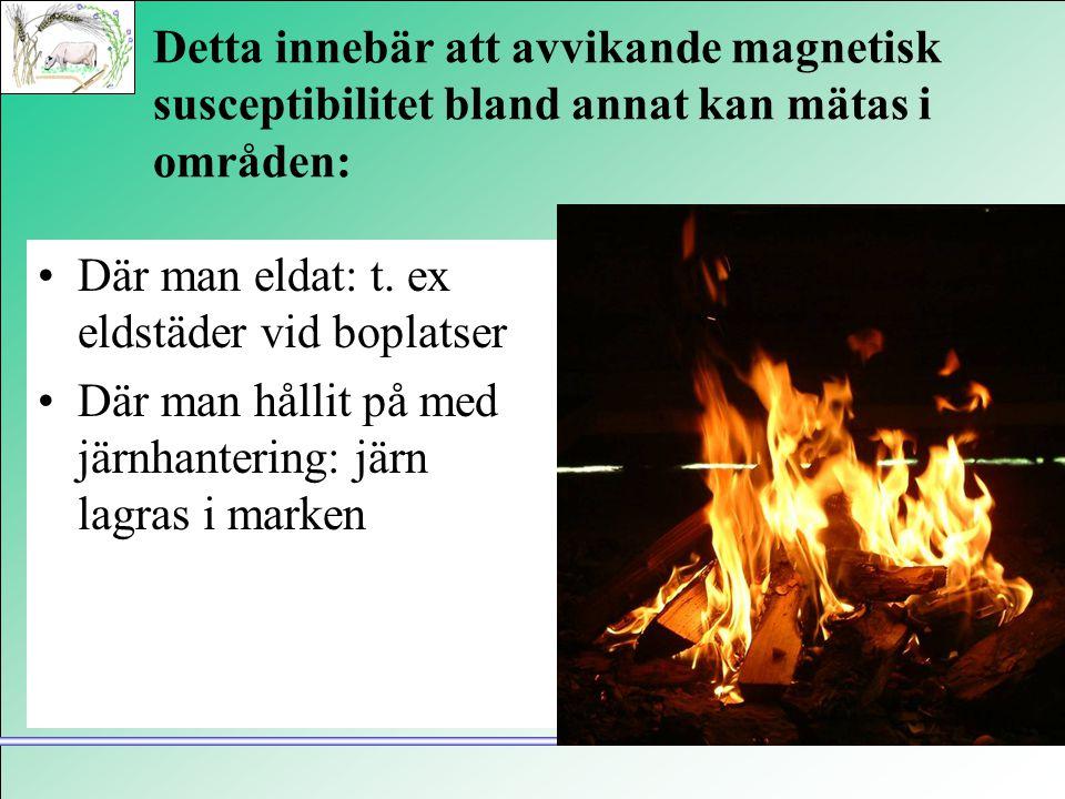Detta innebär att avvikande magnetisk susceptibilitet bland annat kan mätas i områden: •Där man eldat: t. ex eldstäder vid boplatser •Där man hållit p