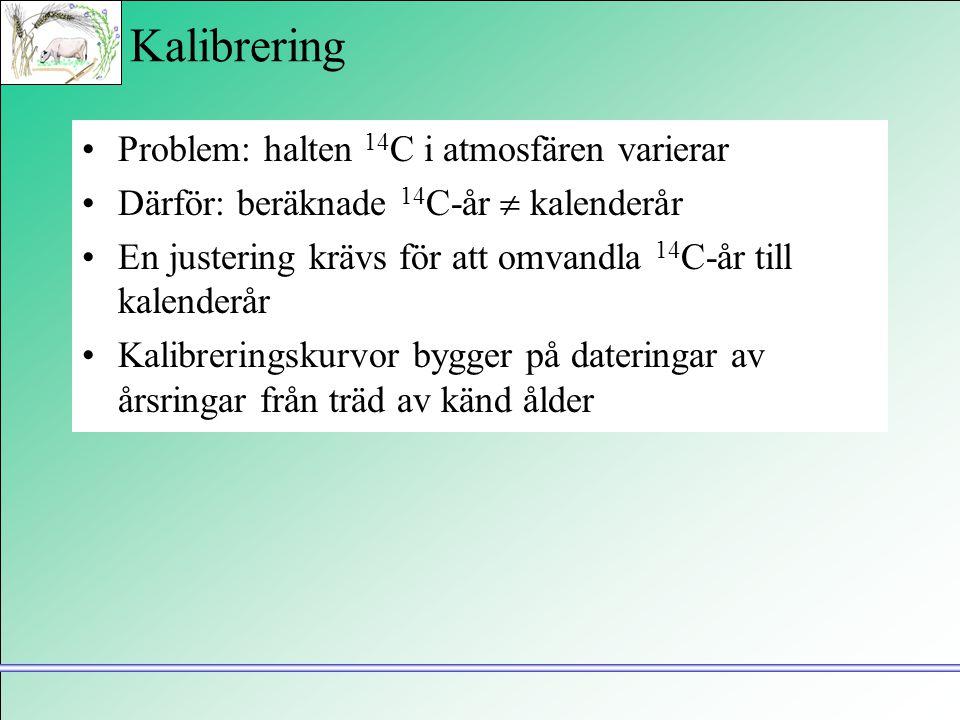 Kalibrering •Problem: halten 14 C i atmosfären varierar •Därför: beräknade 14 C-år  kalenderår •En justering krävs för att omvandla 14 C-år till kale
