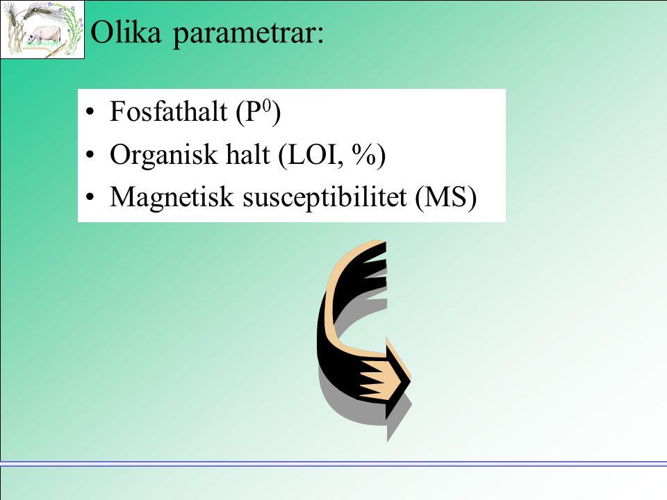 Olika parametrar: •Fosfathalt (P 0 ) •Organisk halt (LOI, %) •Magnetisk susceptibilitet (MS)