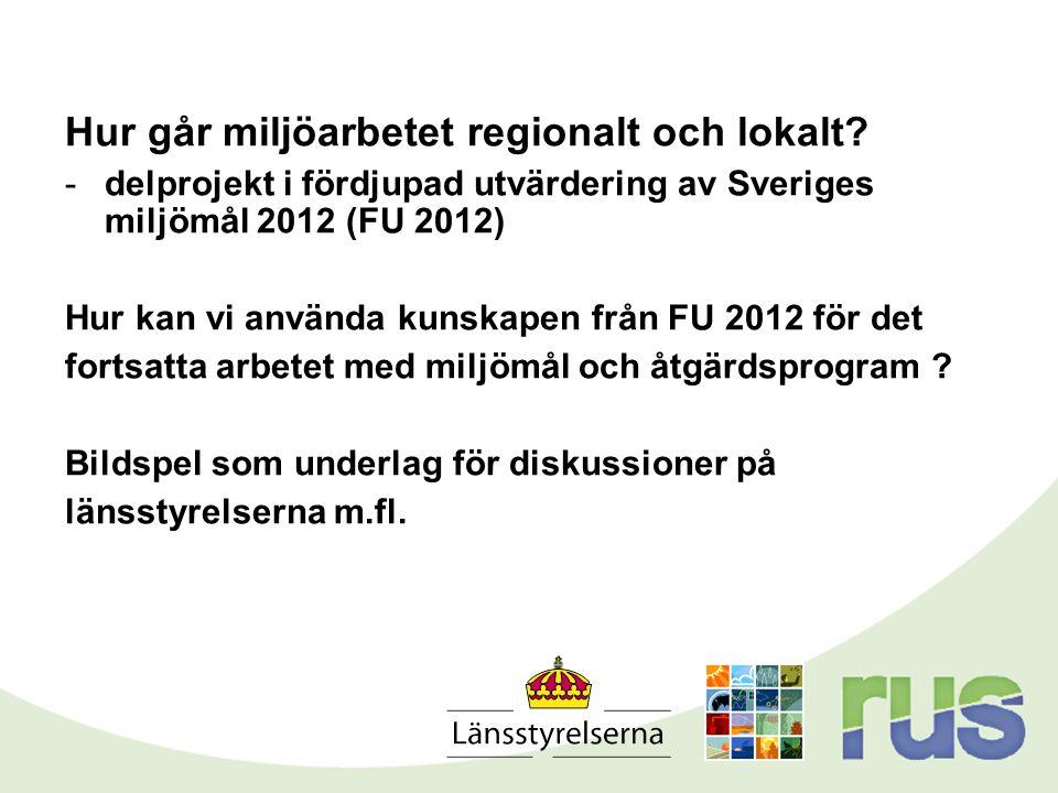 Hur går miljöarbetet regionalt och lokalt? -delprojekt i fördjupad utvärdering av Sveriges miljömål 2012 (FU 2012) Hur kan vi använda kunskapen från F