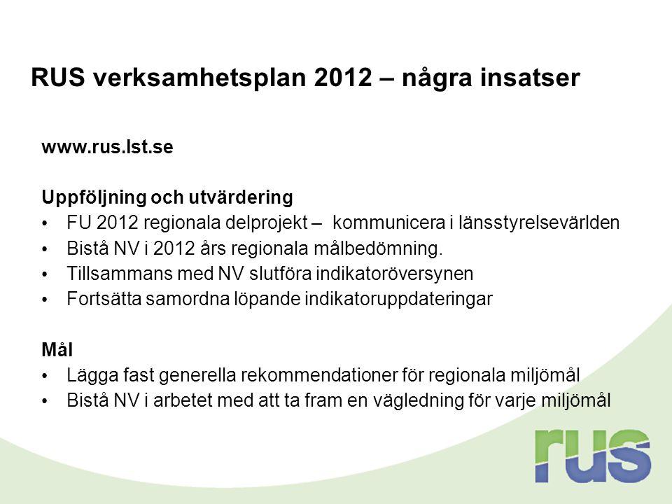 RUS verksamhetsplan 2012 – några insatser www.rus.lst.se Uppföljning och utvärdering • FU 2012 regionala delprojekt – kommunicera i länsstyrelsevärlde