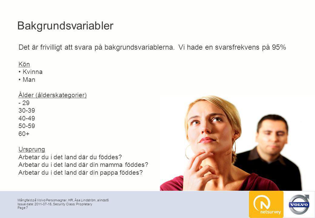 Mångfald på Volvo Personvagnar, HR, Åsa Lindström, alindst5 Page 7 Issue date: 2011-07-15, Security Class: Proprietary Bakgrundsvariabler Det är frivi