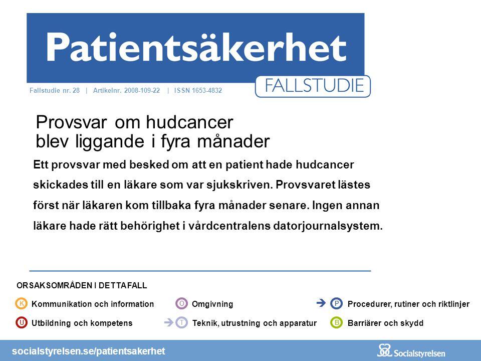 socialstyrelsen.se/patientsakerhet Ett provsvar med besked om att en patient hade hudcancer skickades till en läkare som var sjukskriven. Provsvaret l