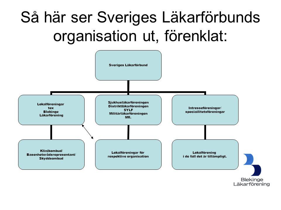 Så här ser Sveriges Läkarförbunds organisation ut, förenklat: Sveriges Läkarförbund Lokalföreningar tex Blekinge Läkarförening Klinikombud/ Basenhetsr