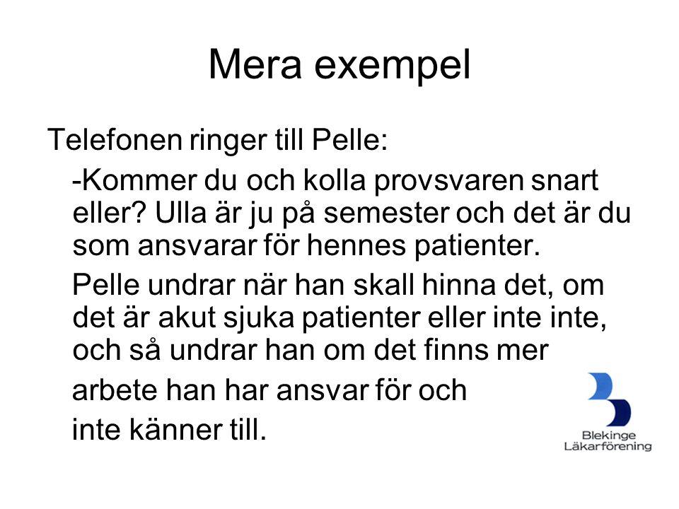 Mera exempel Telefonen ringer till Pelle: -Kommer du och kolla provsvaren snart eller? Ulla är ju på semester och det är du som ansvarar för hennes pa