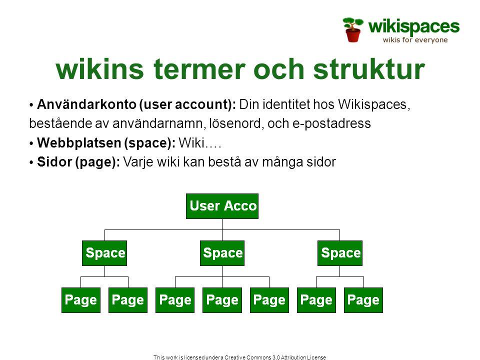 wikins termer och struktur • Användarkonto (user account): Din identitet hos Wikispaces, bestående av användarnamn, lösenord, och e-postadress • Webbplatsen (space): Wiki….