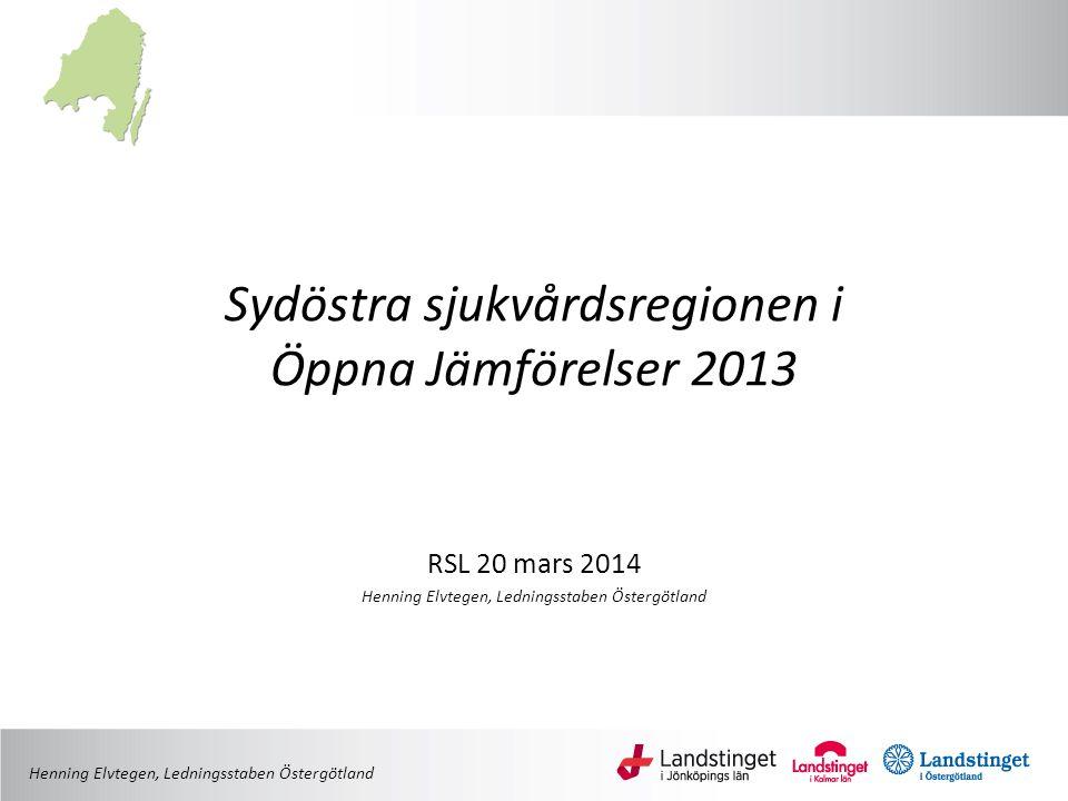 Sydöstra sjukvårdsregionen i Öppna Jämförelser 2013 RSL 20 mars 2014 Henning Elvtegen, Ledningsstaben Östergötland