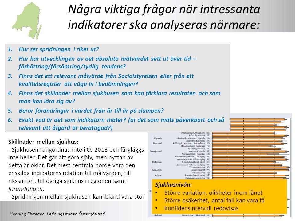 Några viktiga frågor när intressanta indikatorer ska analyseras närmare: Skillnader mellan sjukhus: - Sjukhusen rangordnas inte i ÖJ 2013 och färgläggs inte heller.