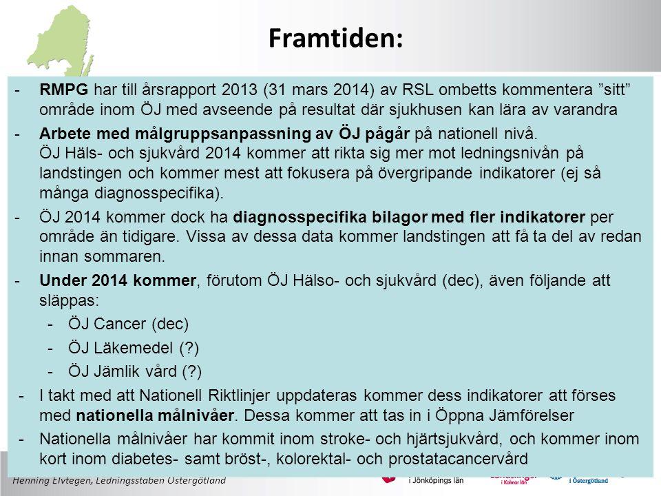 Henning Elvtegen, Ledningsstaben Östergötland -RMPG har till årsrapport 2013 (31 mars 2014) av RSL ombetts kommentera sitt område inom ÖJ med avseende på resultat där sjukhusen kan lära av varandra -Arbete med målgruppsanpassning av ÖJ pågår på nationell nivå.