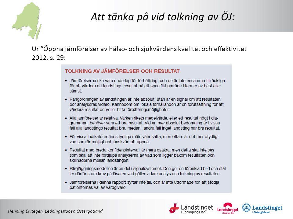 """Att tänka på vid tolkning av ÖJ: Ur """"Öppna jämförelser av hälso- och sjukvårdens kvalitet och effektivitet 2012, s. 29: Henning Elvtegen, Ledningsstab"""